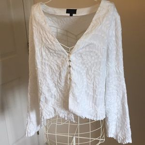 Intermix embroidered white blouse Size L